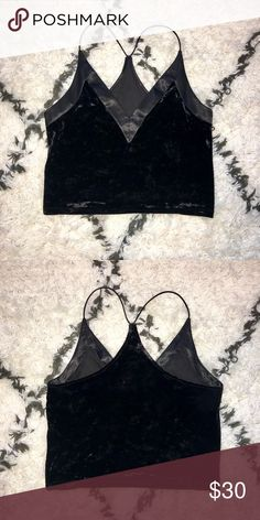 b3aec691d200d Dressy black tank top Hardly worn, velvet and silk, slightly cropped, very  elegant Urban Outfitters Tops Tank Tops