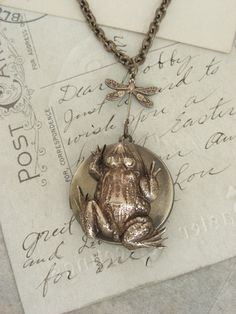 FROG Locket Necklace Vintage Brass   by chloesvintagejewelry, $39.00