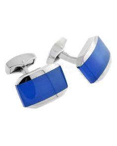 N3NGA Tateossian Fiber Optic Rectangular Cuff Links, Blue