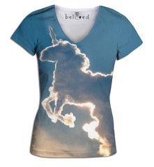Unicorn Cloud Women's V-Neck Tee