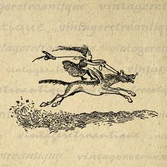 Cartoon Girl Riding Horse Image Digital by VintageRetroAntique