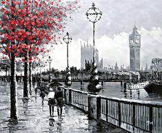 Vista de Londres Big Ben desde la orilla sur por el río Támesis - Pintura al óleo pintada a mano sobre lienzo - Excelente calidad y la artesanía: Amazon.es: Hogar