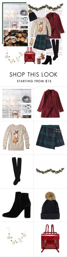 """holly jolly"" by emyemoemu ❤ liked on Polyvore featuring Hollister Co., Burberry, Aéropostale, Improvements, MANGO, Ana Accessories, The Cambridge Satchel Company and Casetify"