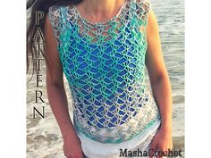 This top lace pattern from my collection of Crochet patterns for beginners. Easy to crochet from down to top, use big shell stitches this tank top