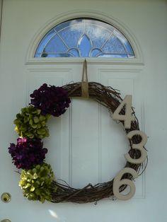 Door wreath with house number....very cute