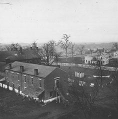 Residential area of Nashville during the Civil War. Howard School is at left; Hume School is in the middle distance.