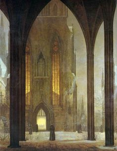 design-decoration-craft:    denisforkas:    Ernst Ferdinand Oehme - Cathedral in Winter (1819)