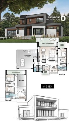 Modern Cubic house plan master suite on main 4 bedrooms open floor plan pantry fireplace home office garage Modern Home Design, Home Design Plans, Modern Homes, Modern Mansion, Modern Decor, Modern Architecture House, Architecture Design, Landscape Architecture, Architecture People