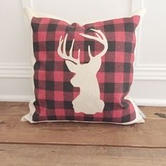 Buffalo Plaid stag pillow cover by SoVintageChic on Etsy Owl Pillow, Heart Pillow, Cushion Covers, Pillow Covers, Pillow Tutorial, Burlap Pillows, Personalized Pillows, Buffalo Plaid, Natural Linen