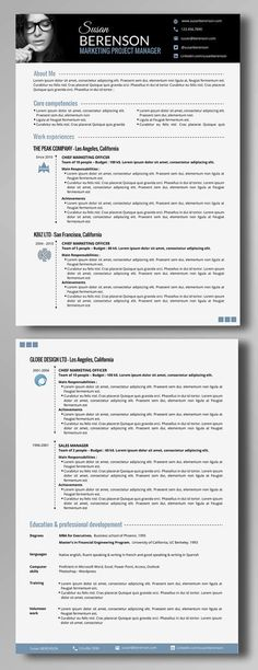 Resume Template CV Template + Cover Letter for MS Word - word professional resume template