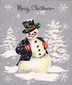 Vintage Hallmark Christmas card snowman in formal wear. Old Time Christmas, Christmas Card Images, Vintage Christmas Images, Christmas Graphics, Old Fashioned Christmas, Hallmark Christmas, Christmas Scenes, Antique Christmas, Christmas Past