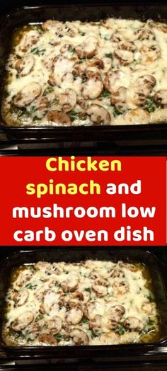 Chicken spinach and mushroom low carb oven dish Make this low carb dish for your. Chicken spinach and mushroom low carb oven dish Make this low carb dish for your. Chicken Spinach Mushroom, Spinach Stuffed Mushrooms, Spinach Stuffed Chicken, Stuffed Peppers, Chicken Mushrooms, Mushroom Dish, Chicken Spinach Recipes, Cauliflower Recipes, Low Calorie Recipes
