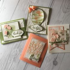 Cards using the Share What You Love Suite from Stampin' Up!  These cards were created with just a few supplies and the Share What you Love suite.  Stampin' Up! is releasing this suite May 1.