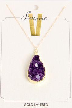 Simona V Amethyst Cluster Tear Drop necklace