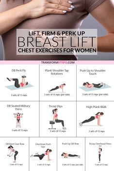 This exercise routine will perk up your breasts easily at home. No equipment needed for this home workout which will transform your body and give you a natural breast lift. Get rid of back fat and try these chest exercises for women to give your bust li Workout Routines For Women, Fitness Workout For Women, Body Fitness, Fitness Workouts, Fitness Motivation, Workout Women At Home, Lifting Workouts, Physical Fitness, Tone Workout For Women