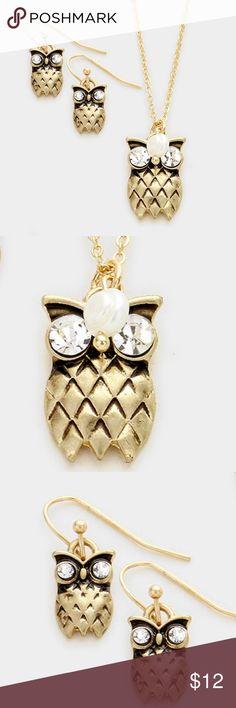 "Ow Pendant Necklace Set • Theme : Owl  • Necklace Size : 18"" + 3"" L • Pendant Size : 0.6"" X 0.8"" • Earrings Size : 0.8"" L • Owl Pendant Necklace with Rhinestone Eyes Jewelry Necklaces"