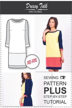 Kleid Muster  Schnittmuster Damen  Kleid von DressyTalkPatterns