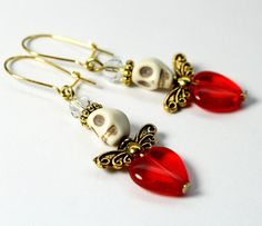 Tiny Sugar Skull Earrings Red Heart Belly and Crystal Angel Wing Day of the Dead Jewelry on Etsy, $8.00