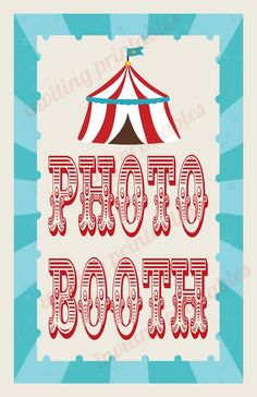 Circus Carnival Photo Sign-digital file. Custom signs are available for US $2.00 each: balloon animals, concessions, face painting, pick a duck, ticket booth...etc
