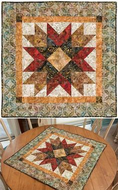"Addisons Star Wall Or Table Quilt Pattern - 36"" x 36"" quilt from 4"" (finished) half-square triangles. Elisa uses the acrylic Square Me Up Ruler, which makes eight 4"" half-square triangles from 10"" squares."