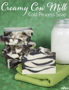 Creamy Cow Milk Cold Process Tutorial10″ Silicone Loaf Mold 3.5 oz. Sweet Almond Oil 8.8 oz. Coconut Oil 10.5 oz. Olive Oil 8.7 oz. Palm Oil 3.5 oz. Shea Butter 4.9 oz. Sodium Hydroxide Lye 11.6 oz. Whole Milk 1 oz. Vanilla Rosewood Fragrance Oil 1 oz. Grass Stain Fragrance Oil Titanium Dioxide Pigment Activated Charcoal
