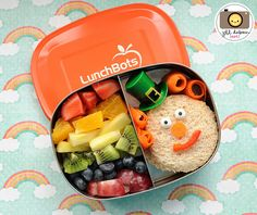 The leprechaun is cute but love the rainbow fruit salad idea for St Patrick's Day lunch box treats