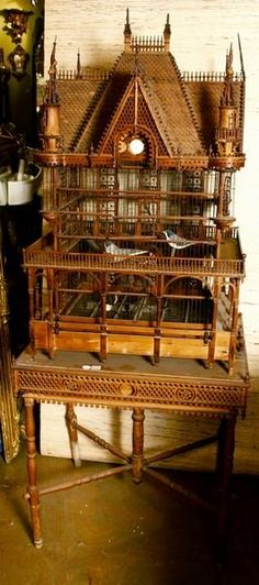 19th Century Victorian fretwork birdcage in the style of a grand mansion
