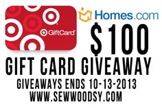 $100 Target gift card giveaway from SewWoodsy.com and @Homes.com #giveaway #shopping #DIY #entertowin