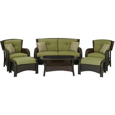 Patio Outdoor Furniture Set with Cushions Durable Steel Frame 6 Pieces Wicker #PatioOutdoorFurnitureSetwithCushions