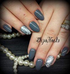 Grey Nail Art, Gray Nails, Autumn Nails, Beauty, Gray Nail Art, Beauty Illustration, Fall Nails, Spring Nails