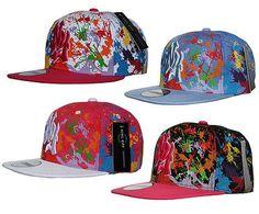 0086e69ce99 Rc 2 tone ny new york  splash  paint flat peak  snapback cap hat