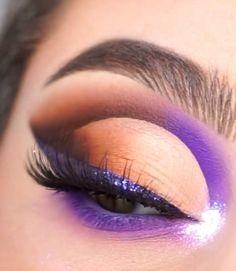 Purple Makeup Looks, Green Makeup, Pink Makeup, Purple Eyeliner, Smokey Eyeliner, Smoke Eye Makeup, Eyeshadow Makeup, Party Eye Makeup, Dope Makeup