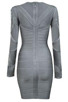Shazaya Grey Gray Mesh Long Sleeve Bodycon Bandage Dress