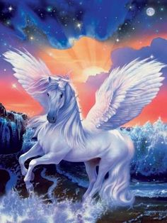Pegasus is one of the best known mythological creatures in Greek mythology Unicorn And Fairies, Unicorn Fantasy, Unicorn Horse, Unicorn Art, Magical Unicorn, Fantasy Art, Magical Creatures, Fantasy Creatures, Painting Art