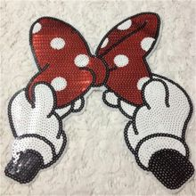 minnie mouse bow fabric embroidered iron on applique patch. Black Bedroom Furniture Sets. Home Design Ideas