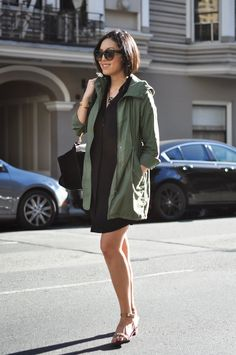 Olive jacket over black dress...I could do a version of this.