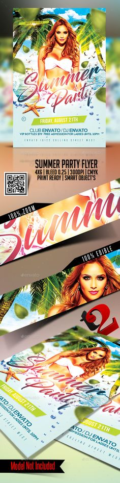 Summer #Party #Flyer Template - Clubs & Parties Events Download here: https://graphicriver.net/item/summer-party-flyer-template/20257952?ref=suz_562geid