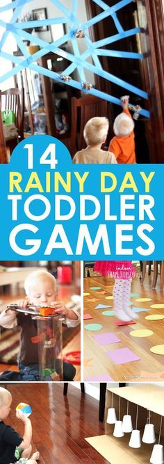 "14 indoor toddler games that are perfect for rainy days, cold days, hot days, or just plain ""I need a break"" days! With these fabulous toddler fun ideas available, you'll be ready to entertain your toddler no matter why you need to stay indoors! Toddler Play, Toddler Learning, Baby Play, Toddler Crafts, Toddler Games, Children Games, Fun Games For Toddlers, Educational Games For Toddlers, Toddler School"