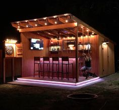 Just finished my backyard bar/shed : CozyPlaces Outdoor Garden Bar, Garden Bar Shed, Diy Outdoor Bar, Outdoor Kitchen Patio, Outdoor Kitchen Design, Backyard Pavilion, Backyard Bar, Backyard Patio Designs, Backyard Projects