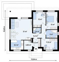 Проект Z273 A одноэтажный компактный дом 10 на 13 м