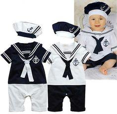 NEW Baby Boy Girl Cuello de Marinero Traje Traje Crecen Conjunto Pantalones Ropa Del Mameluco y Sombrero