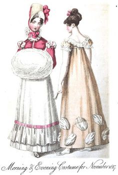 Regency Era Fashion Plate - November 1817 Ladies' Monthly Museum. Especially love the Swansdown muff.