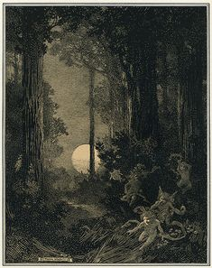 "What a beautiful illustration! ""Moonrise in a Wood"" illustration by Franklin Booth Gravure Illustration, Illustration Art, Franklin Booth, Nocturne, Moon Art, Moon Goddess, Stars And Moon, Dark Art, Fantasy Art"