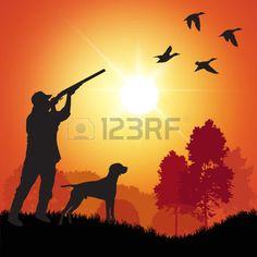 shooting gun: Silhouette of men on the duck hunting. Vector illustration