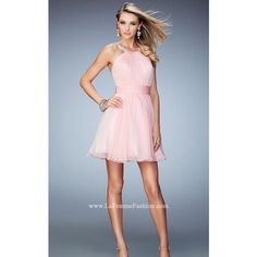 Cotton Candy Pink La Femme 21885 Short Chiffon Homecoming Dress ($139) via Polyvore featuring dresses, short dresses, blue dress, pink day dress, chiffon homecoming dresses and short chiffon dress