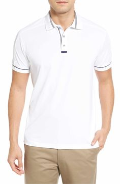 Stripes and piping bring classic style to the golf course in a stretch-enhanced, piqué-knit construction that's cool and breathable. Best Suits For Men, Cool Suits, Mens Suits, Polo Shirt Outfits, Camisa Polo, Lacoste, Bobby, Classic Style, Polo Ralph Lauren