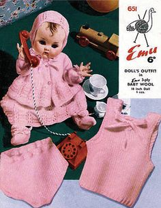 Items similar to PDF Vintage Doll Clothes Knitting Pattern Premature Baby Dress EMU 651 Pretty EASY Vest Pilch Matinee Pram Set Lacy Old-Fashioned on Etsy Doll Clothes Patterns, Doll Patterns, Knitting Patterns, Crochet Patterns, 4 Ply Yarn, Premature Baby, Baby Kittens, Baby Cardigan, Retro Toys
