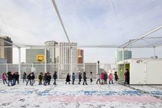 A school in the very heart of Rotterdam, with the play ground on top of the building. A perfect place for children to play safely and to feel free. Photo by Hans van Heeswijk Rotterdam, Perfect Place, Playground, Louvre, School, Street View, Van, Community, Building
