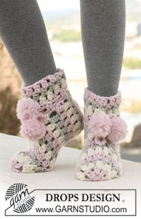 "Ice Cream Steps - Gehäkelte DROPS Hausschuhe in ""Eskimo"". - Free pattern by DROPS Design"