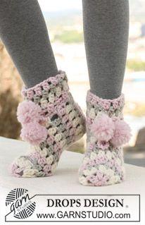 """DROPS 123-23 - Crochet DROPS slippers in """"Eskimo"""". - Free pattern by DROPS Design"""